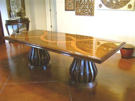 Custom Made Mahogany Dining Table With Teak Inlay By