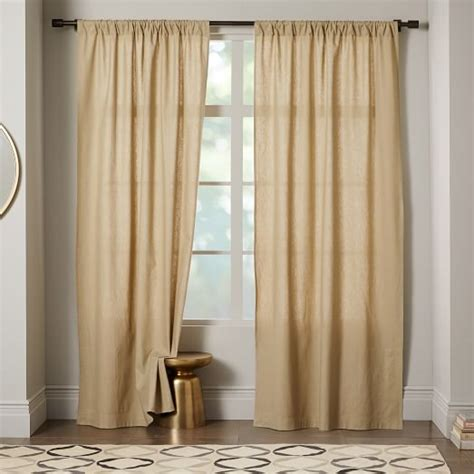 linen cotton curtain flax west elm