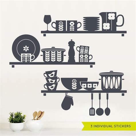 stickers cuisine design nordic kitchen shelves wall sticker by sirface graphics