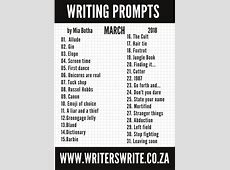 31 Writing Prompts For March 2018 Writers Write
