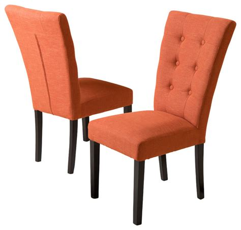 leighton fabric dining chairs set of 2 burnt orange