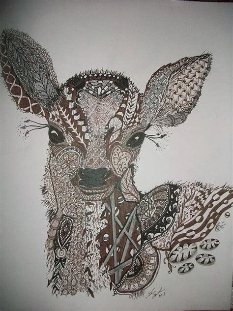 baby deer zentangle drawing  etsy  zentangle