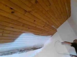 a k deco peinture d39un plafond en lambris au pistolet With peindre des poutres en bois 12 du lambris trop de lambris