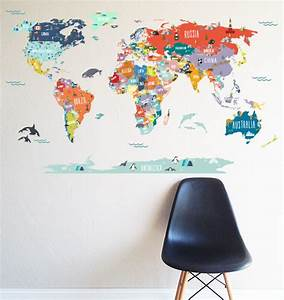 world map interactive map wall decal scandinavian With kitchen cabinets lowes with world map wall art stickers