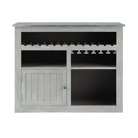 meuble de bar en bois d acacia gris l 132 cm zinc maisons du monde