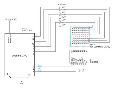 Interfacing Led Matrix With Arduino Circuit Diagram