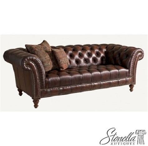 Leather Settee Repair by 40163 Henredon Tufted Brown Leather Sofa Wit Tack