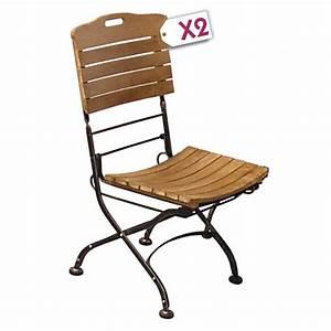 Chaise Fer Forgé Et Bois : mobilier de jardin lot de 2 chaises pliantes teck fer ~ Dailycaller-alerts.com Idées de Décoration