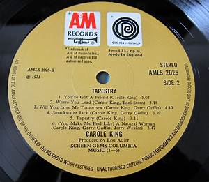 Carole King Tapestry A&M Record label – Every record tells ...