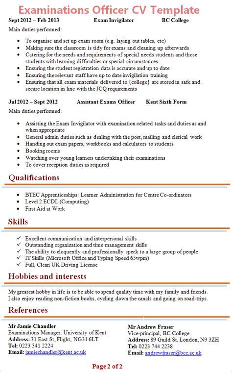 examinations officer cv template