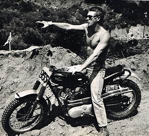 Steve McQueen on a Triumph Motorcycle Photo Picture