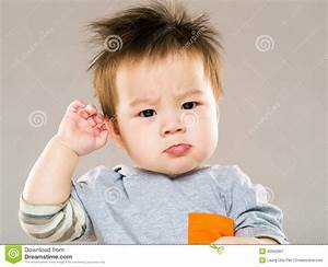 Confused asian baby stock image. Image of face, childcare ...