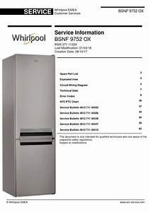 Whirlpool Bsnf 9752 Ox Refrigerator Service Manual And