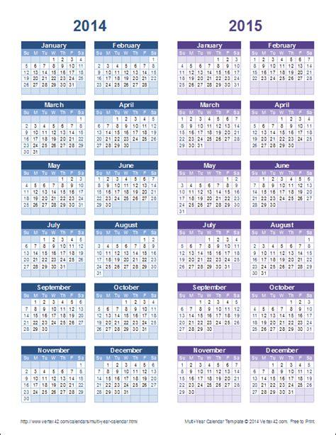 multi year calendars year calendar templates