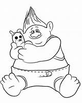 Trolls Fun Coloring Pages Biggie sketch template