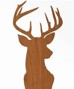 Deer Head Print Silhouette - Faux Wood Grain Faux Bois on