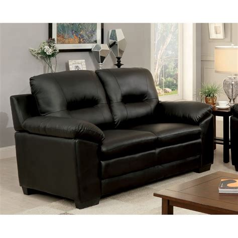 Black Tufted Loveseat by Furniture Of America Pallan Leather Tufted Loveseat In