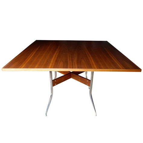 Rare Modern Walnut Square Dining Table by George Nelson