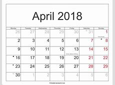 April 2018 Calendar With Holidays 2018 yearly calendar