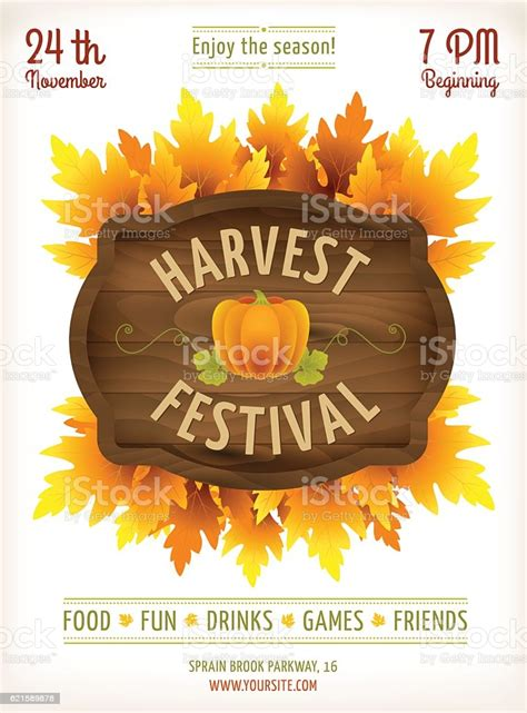 Harvest Festival Poster Fall Party Invitation Design