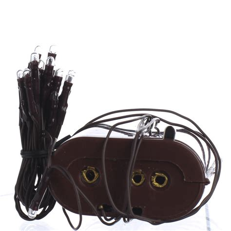 battery operated clear bulb and brown cord teeny string