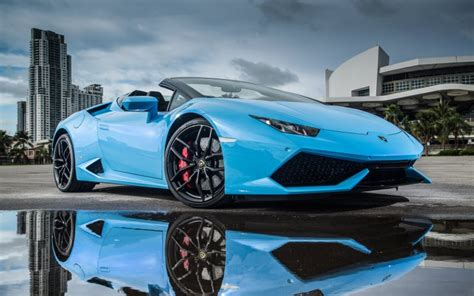 desktop wallpaper lamborghini huracan blue sports car