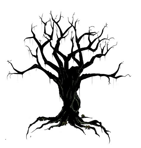 creepy tree clipart outline clipground