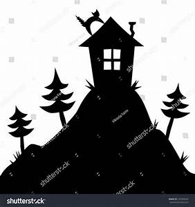 Vector Silhouette House On Hill Pine Stock Vector ...