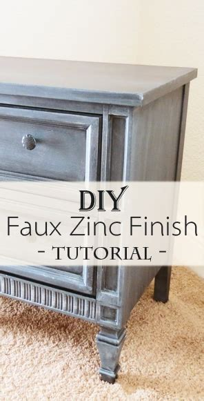 Faux Zinc Finish  Nightstand Makeover  Painted Furniture