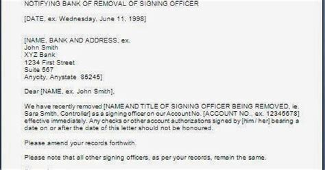 remove authorized signatory letter
