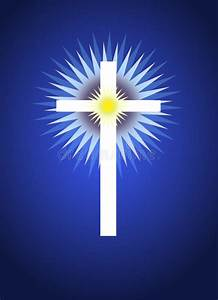 Radiate Light Cross With Radiating Light Behind Stock Illustration