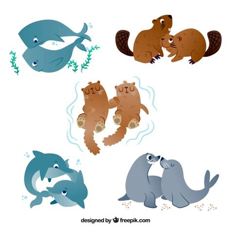 Download icon font or svg. Flat valentine's day animal couples collection Vector ...