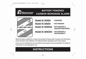 Ei Electronics Carbon Monoxide Alarm Ei 204en Instructions
