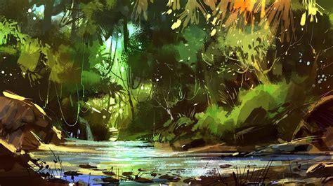 rain forest painting wallpaper wallpaper studio