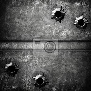 Wall mural iron plate with bullet hole - metal • PIXERSIZE.com