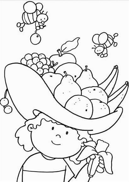 Coloring Pages Fruits Cartoon Vegetables Fruit Nutrition