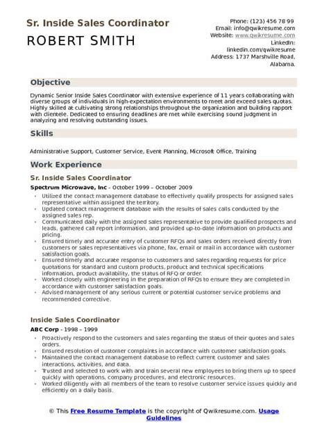 Resume Sles For by Inside Sales Coordinator Resume Sles Qwikresume