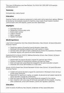 professional preschool teacher resume recentresumescom With kindergarten teacher resume