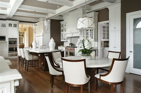 Round White Marble Top Dining Table with Ivory Linen