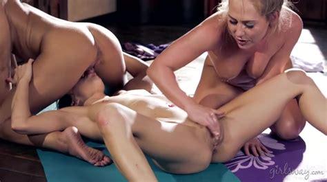 Lesbian Yoga Threesome Makes Adriana Chechik Squirt Threesome Porn