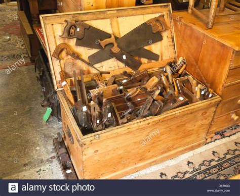 large box  traditional woodworking tools   rural