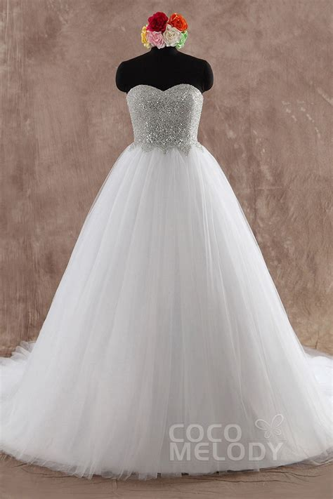 cocomelody princess sweetheart chapel train wedding dress