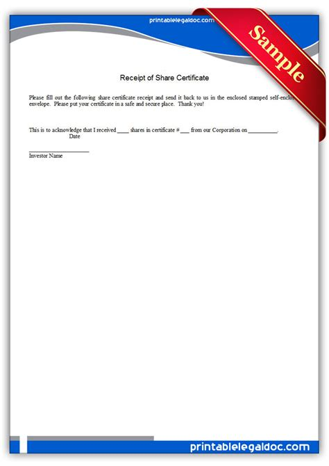 printable receipt  share certificate form generic