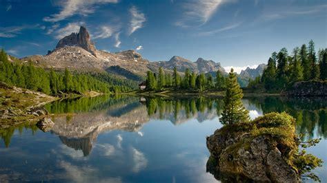 lake rock mountain landscape canada wallpapers hd