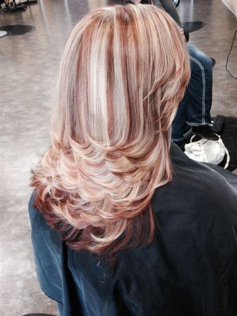 red brown  blonde highlights  lowlights warm