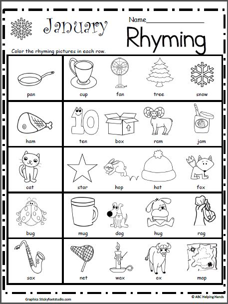 rhyming worksheet for january kindergarten january