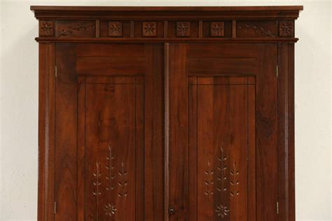 Victorian Eastlake 1880 Antique Walnut Armoire, Closet Or