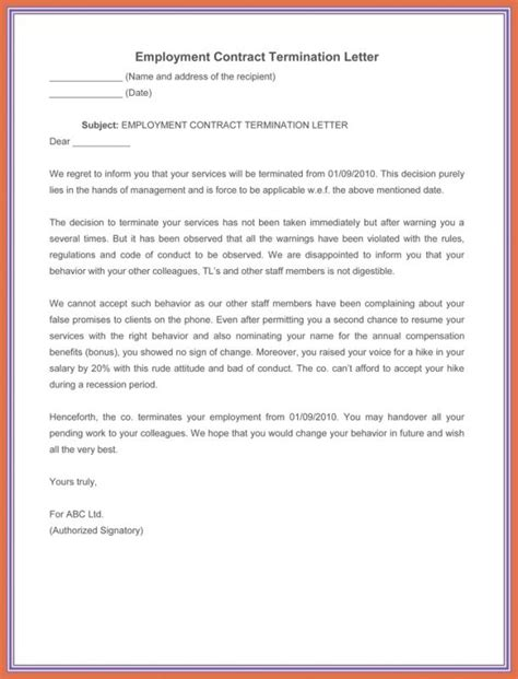 termination letter template sle termination letter without cause template business 25073