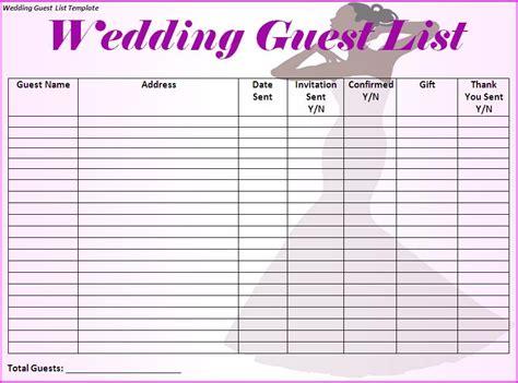 wedding guest list template madinbelgrade