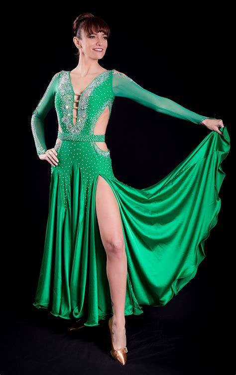 sexy long sleeves green ballroom dress  belt
